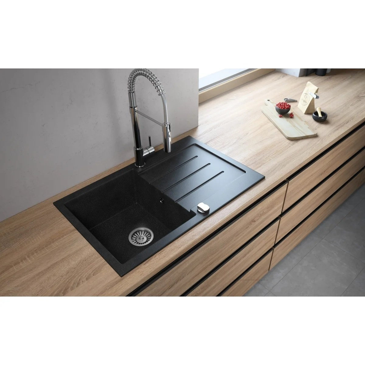 american lavello granite composite 31 drop in with drainboard single bowl kitchen sink onyx right 2 holes