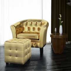 Leather Tub Chair Comfy Chairs For Toddlers Shop Vidaxl Artificial Armchair With Footrest Gold Free Shipping Today Overstock Com 19451433