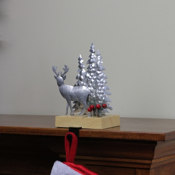 Shop 8 5 Galvanized Metal Deer And Trees Christmas Stocking Holder Overstock 25573771