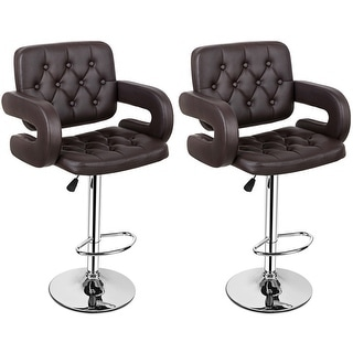 leather pub chair stool autocad shop costway set of 2 pu swivel bar stools hydraulic adjustable brown free shipping today overstock com 15929833