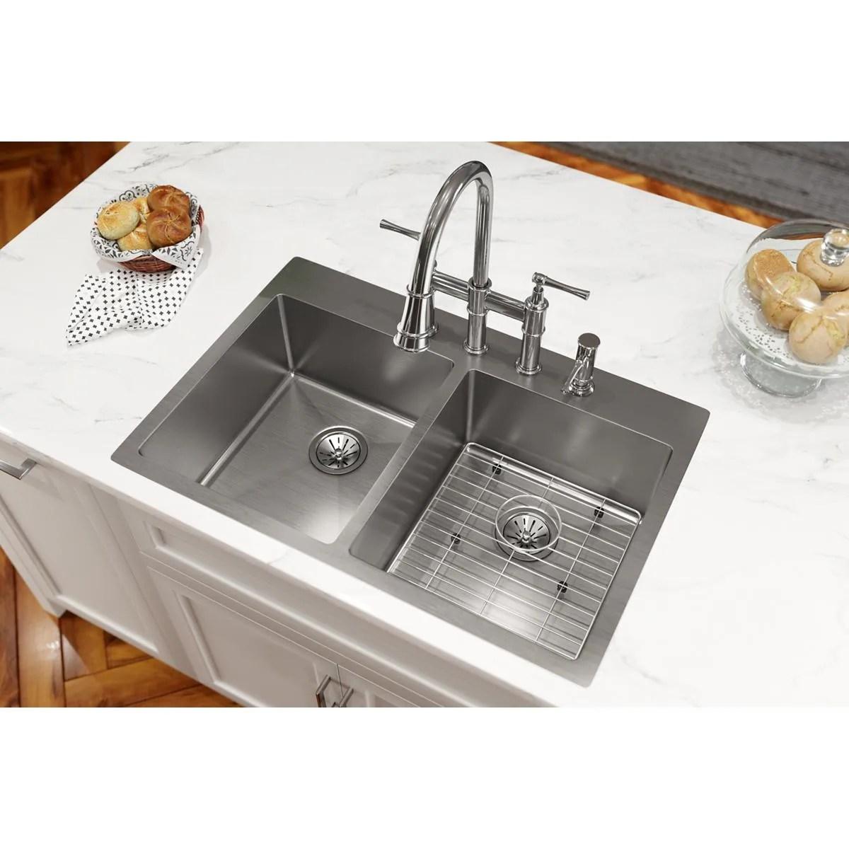 elkay crosstown stainless steel 33 x 22 x 9 equal double bowl dual mount sink kit