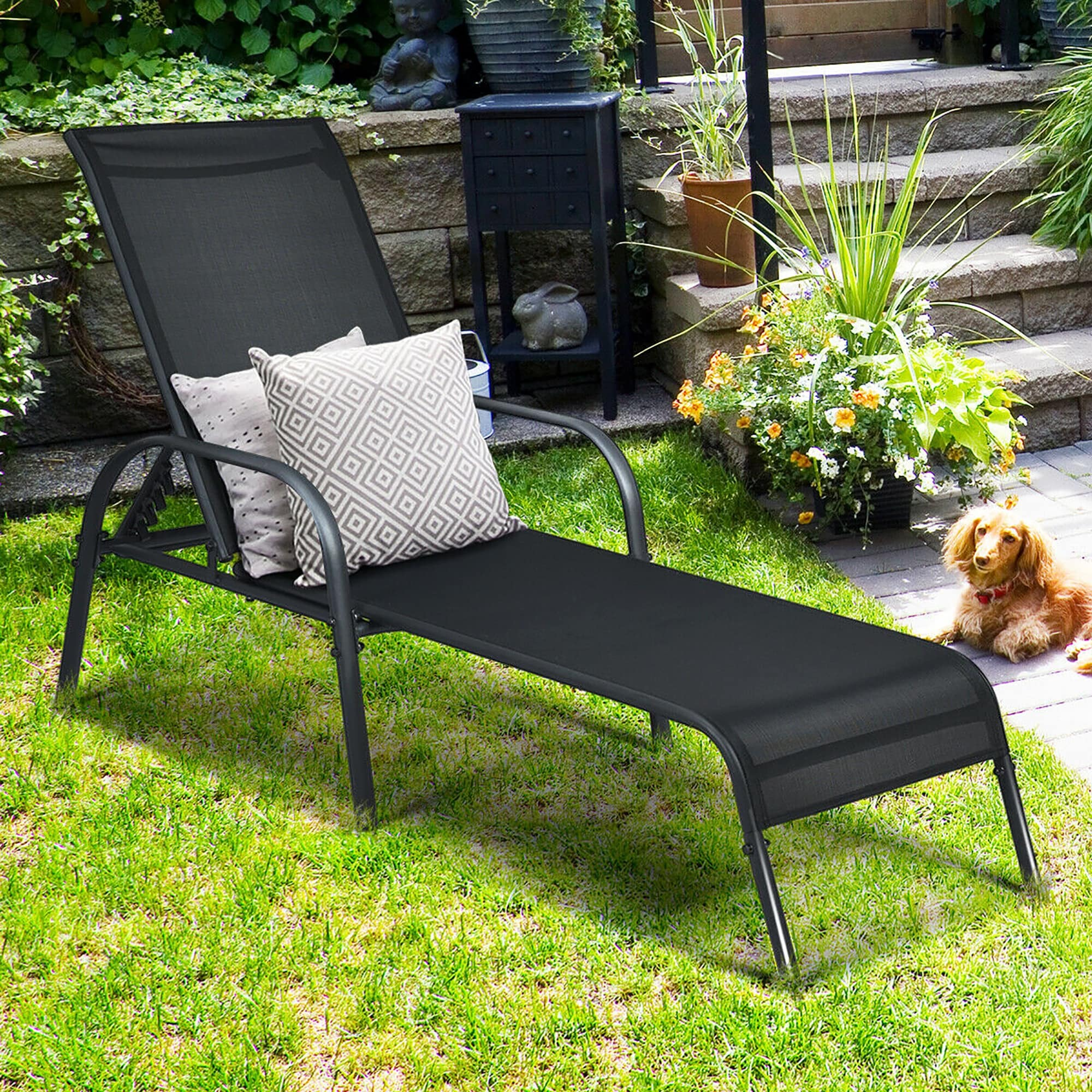 Shop Goplus Patio Chaise Lounge Outdoor Folding Recliner Chair W Overstock 23140352