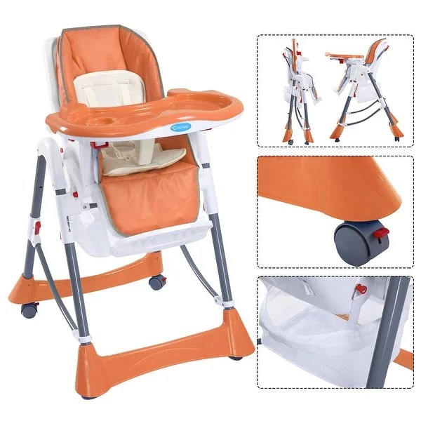 portable high chair booster non slip cushions shop baby infant toddler feeding folding highchair orange