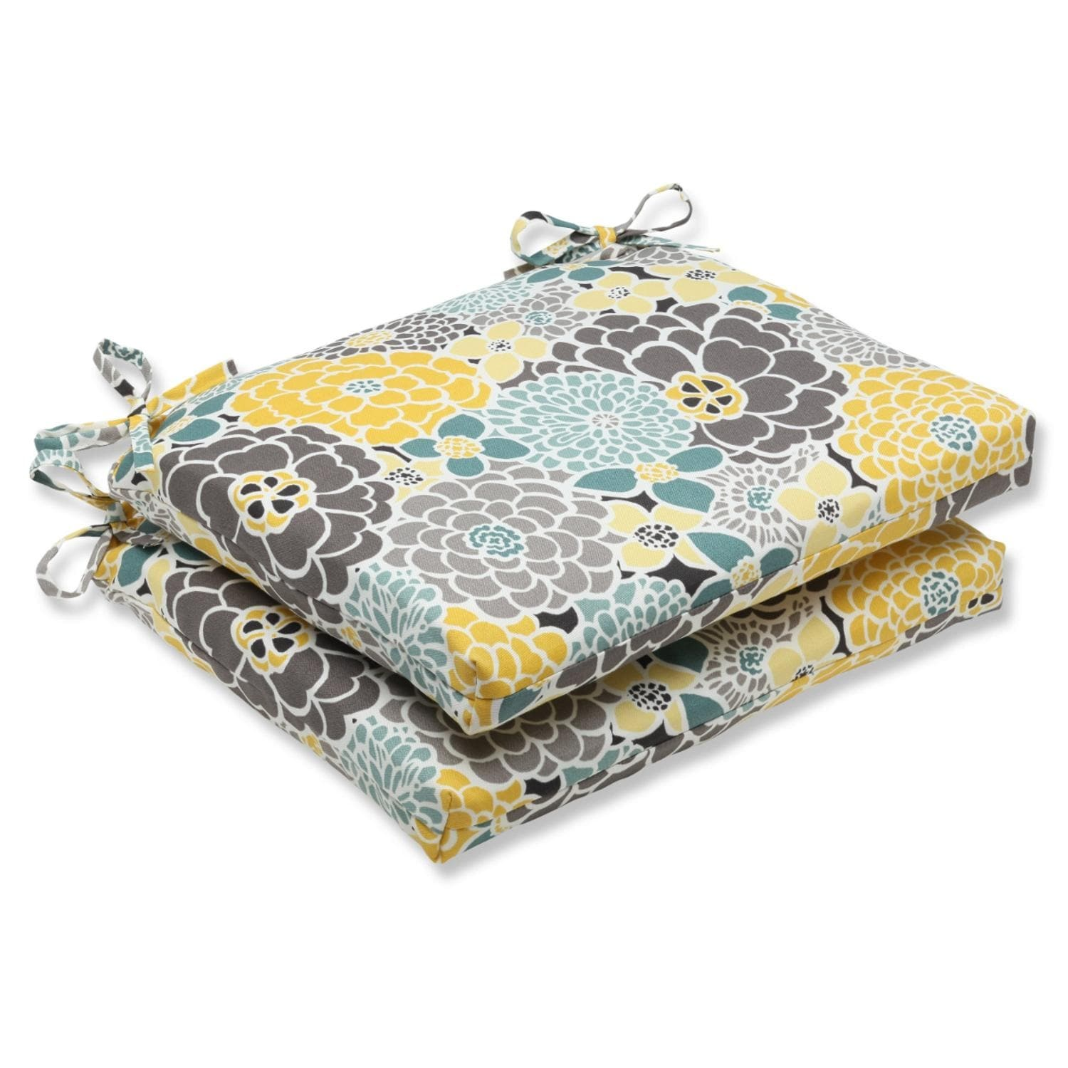 set of 2 yellow blue and gray flor grande decorative outdoor patio chair cushions 18 5 yellow