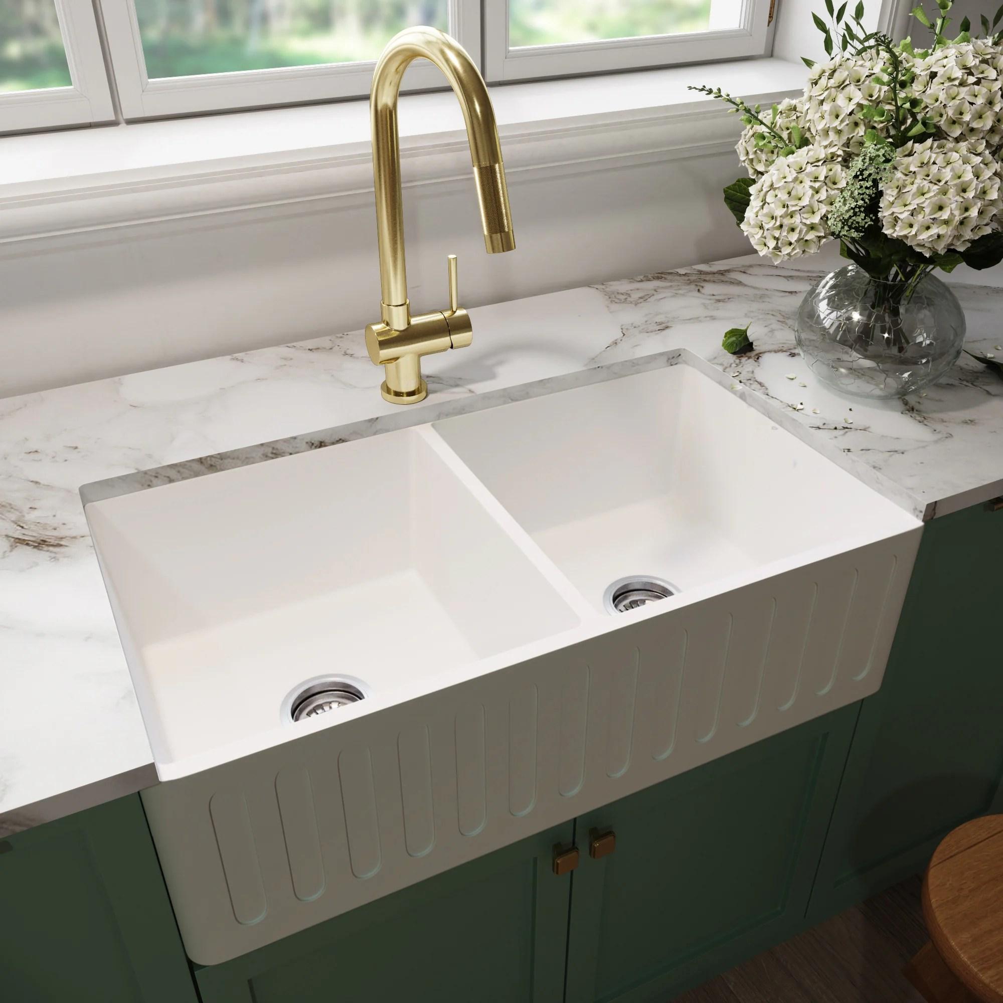 Shop Vigo White 36 Inch Matte Stone Double Bowl Farmhouse Kitchen Sink Overstock 16066698