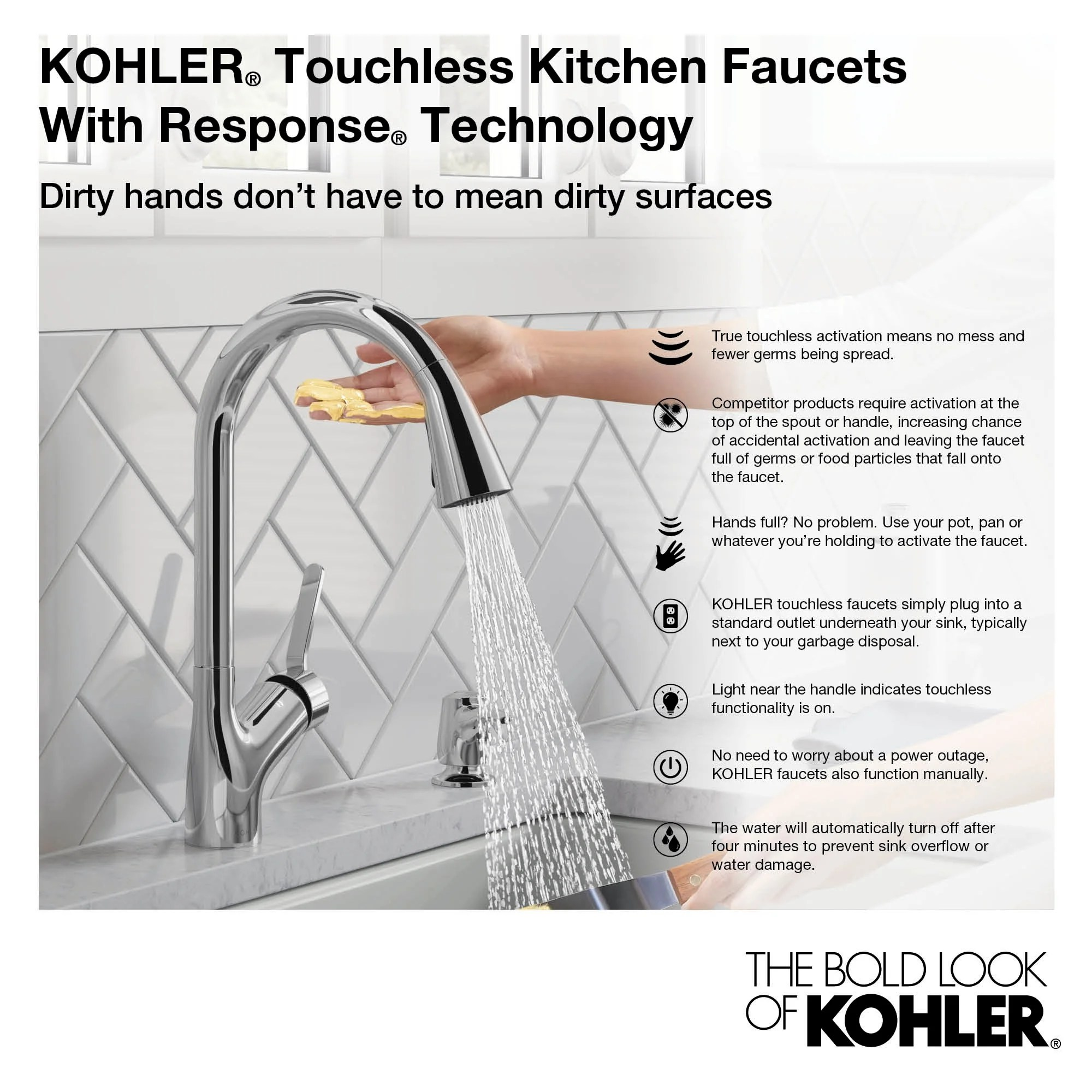 kohler k 72218 wb sensate pull down kitchen faucet with touchless