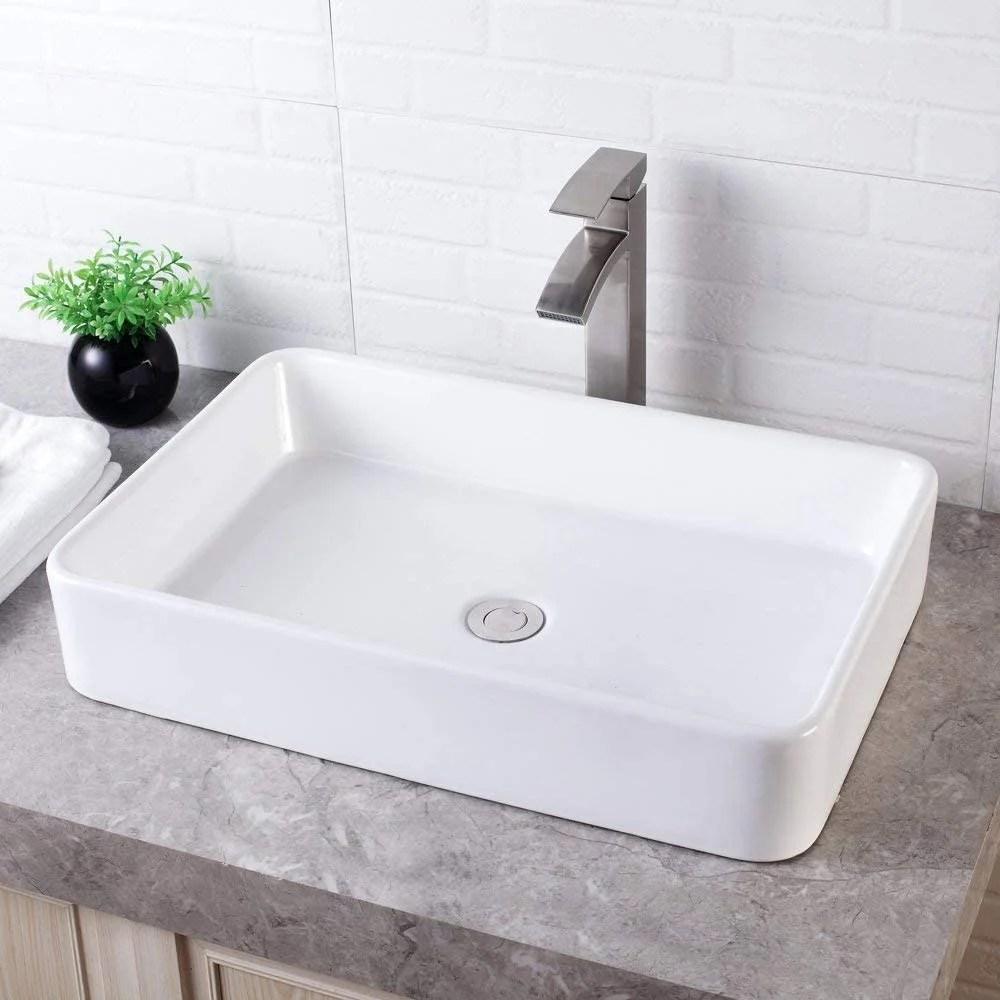 bathroom vessel sink counter white farmhouse ceramic vanity sink