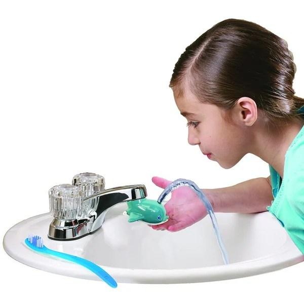 jokari dolphin faucet fountain kids bathroom sink tap water drinking spout blue