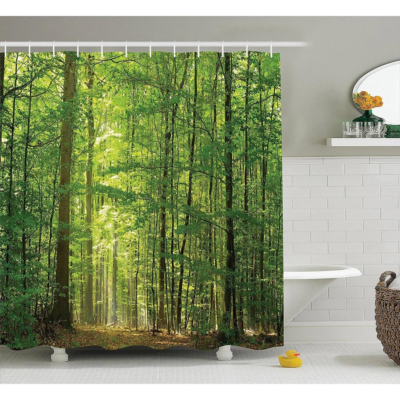 woodland decor shower curtain set