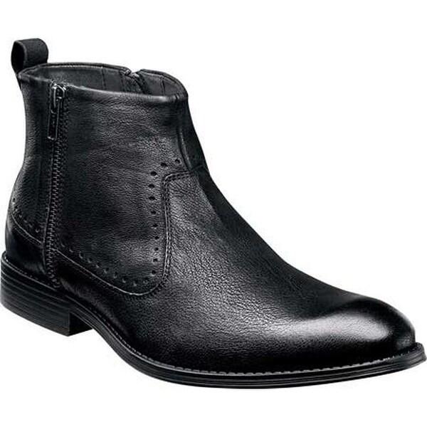 Shop Stacy Adams Mens Remington Plain Toe Zipper Boot 25063 Black Distressed Leather  Free