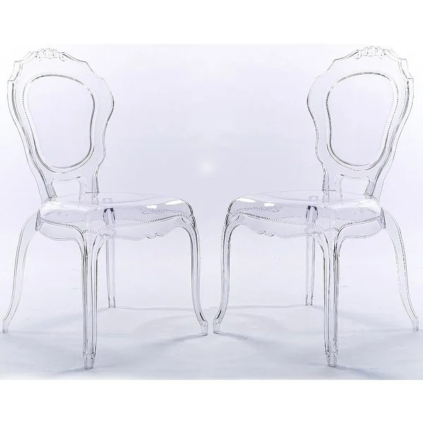 transparent polycarbonate chairs beach on sale at walmart shop 2xhome set of 2 clear plastic side dining chair modern crystal living room