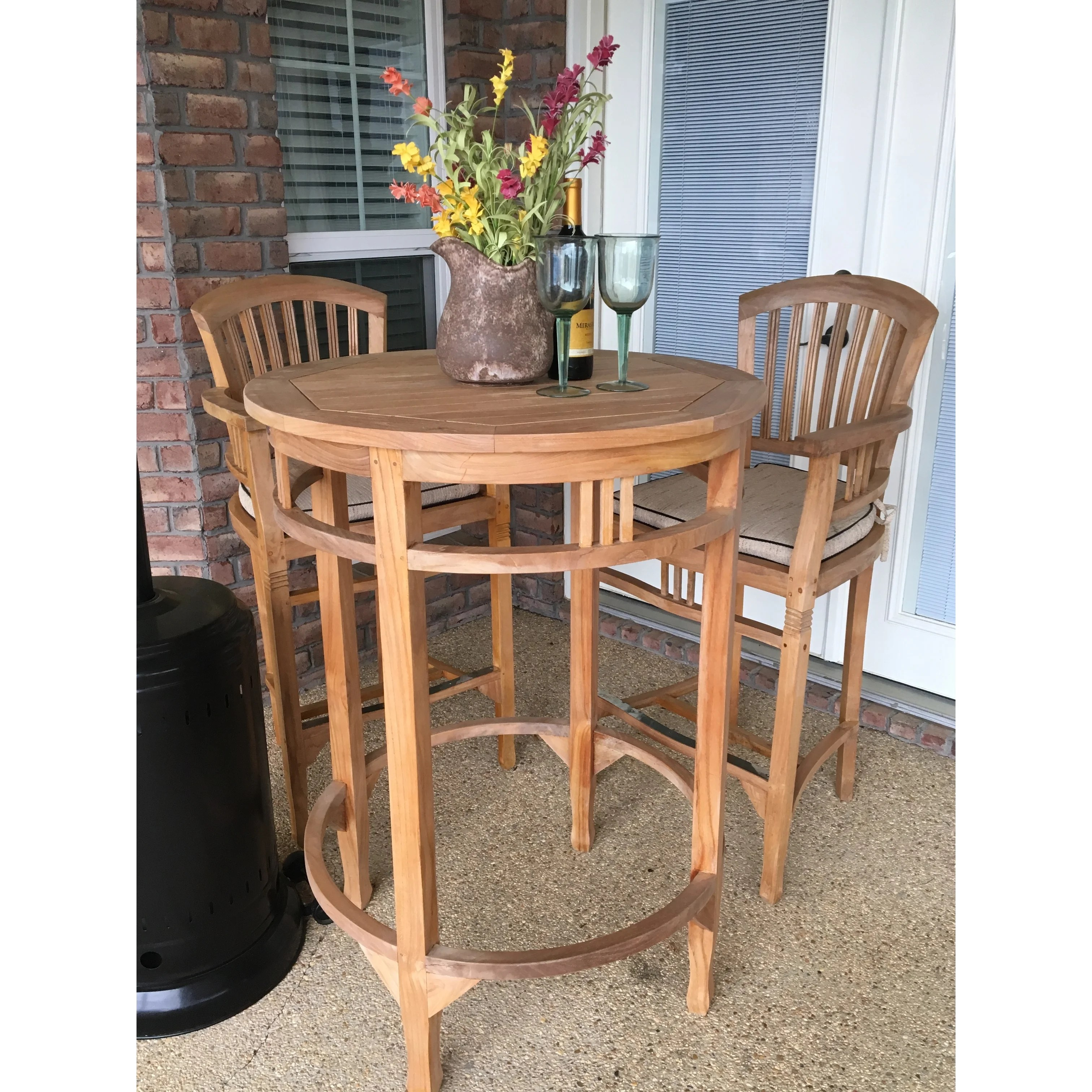 chic teak large teak wood orleans round outdoor patio bar table 38 inch table only