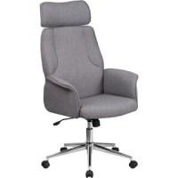 Aila Dark Grey Fabric Swivel Office Chair With Wheel Base ...
