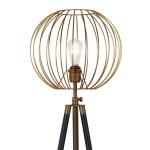 Parry Industrial Metal Tripod Floor Lamp In Antique Brass Finish Overstock 20861467