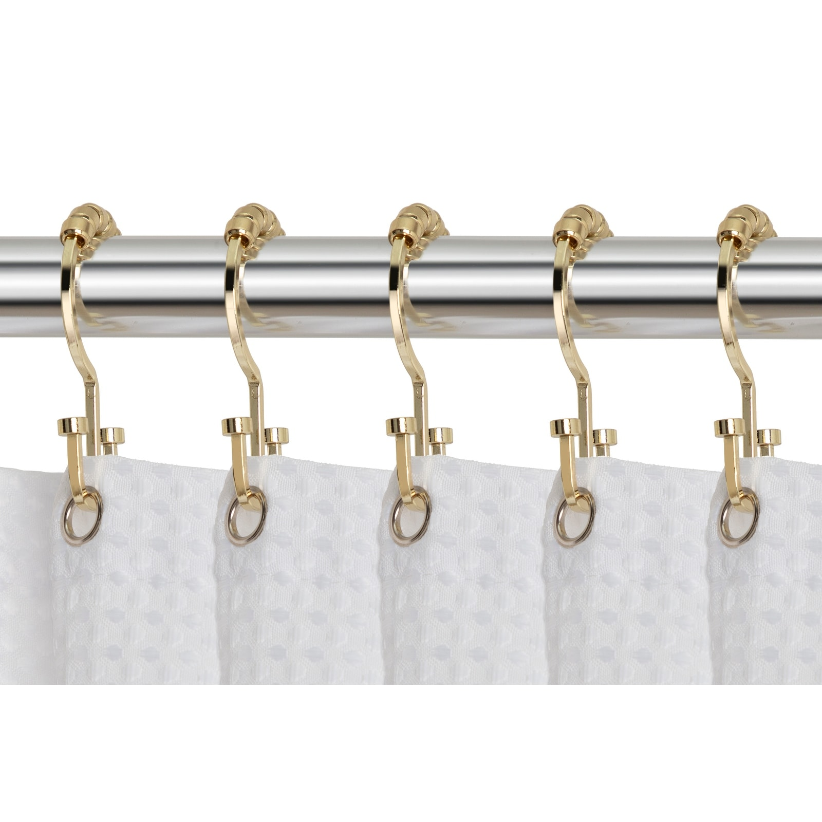 utopia alley deco flat double roller shower curtain hooks gold
