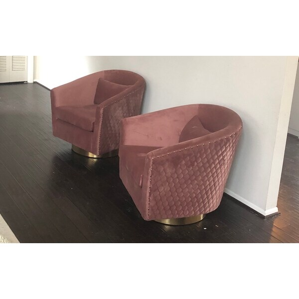 quilted swivel chair banquet covers bulk shop safavieh couture clara tub dusty rose gold 29 92 in w x 31 69 d 72 h on sale free shipping today