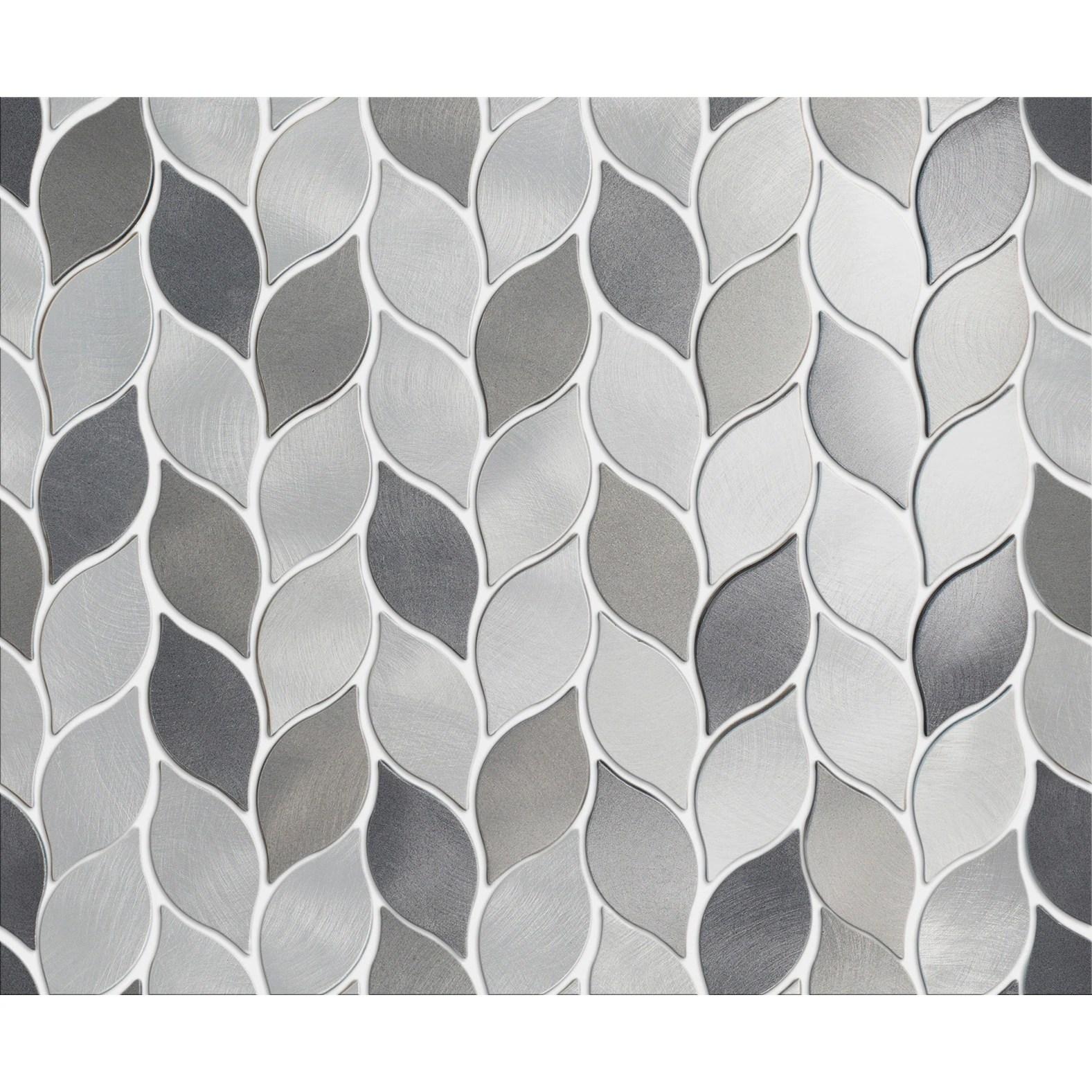 tilegen leaf shape 1 25 x 2 75 aluminum metal mosaic tile in silver gray wall tile 10 sheets 11sqft