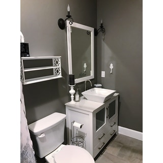 White Artificial Stone Top 36inch Vessel Sink Bathroom