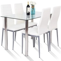 Metal Kitchen Chairs Canada Office Chair Support For Sciatica Shop Gymax 5 Piece Table Dining Set Glass Furniture
