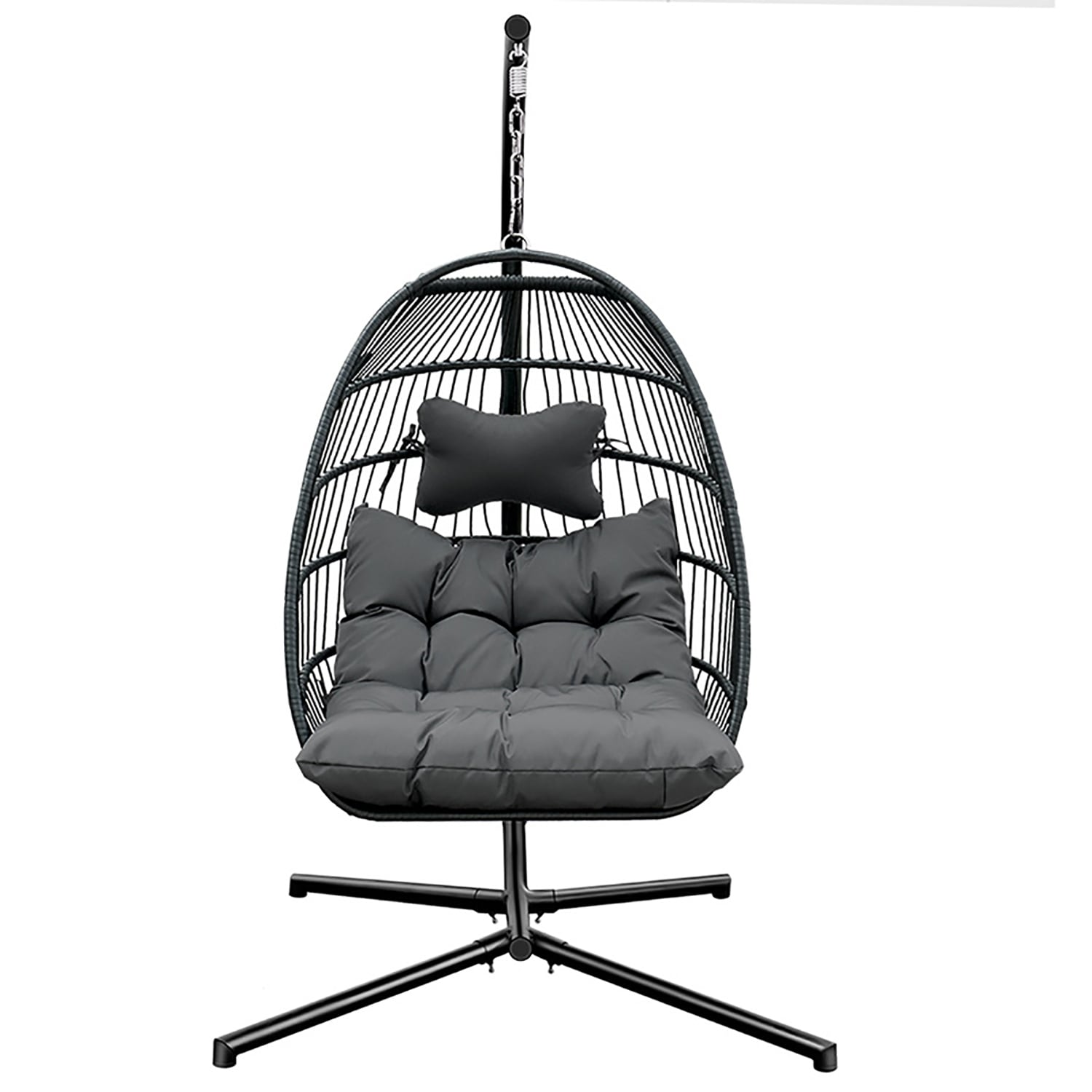 Shop Outdoor Or Home Rattan Wicker Patio Egg Shape Swing Chair With Stand On Sale Overstock 31768470