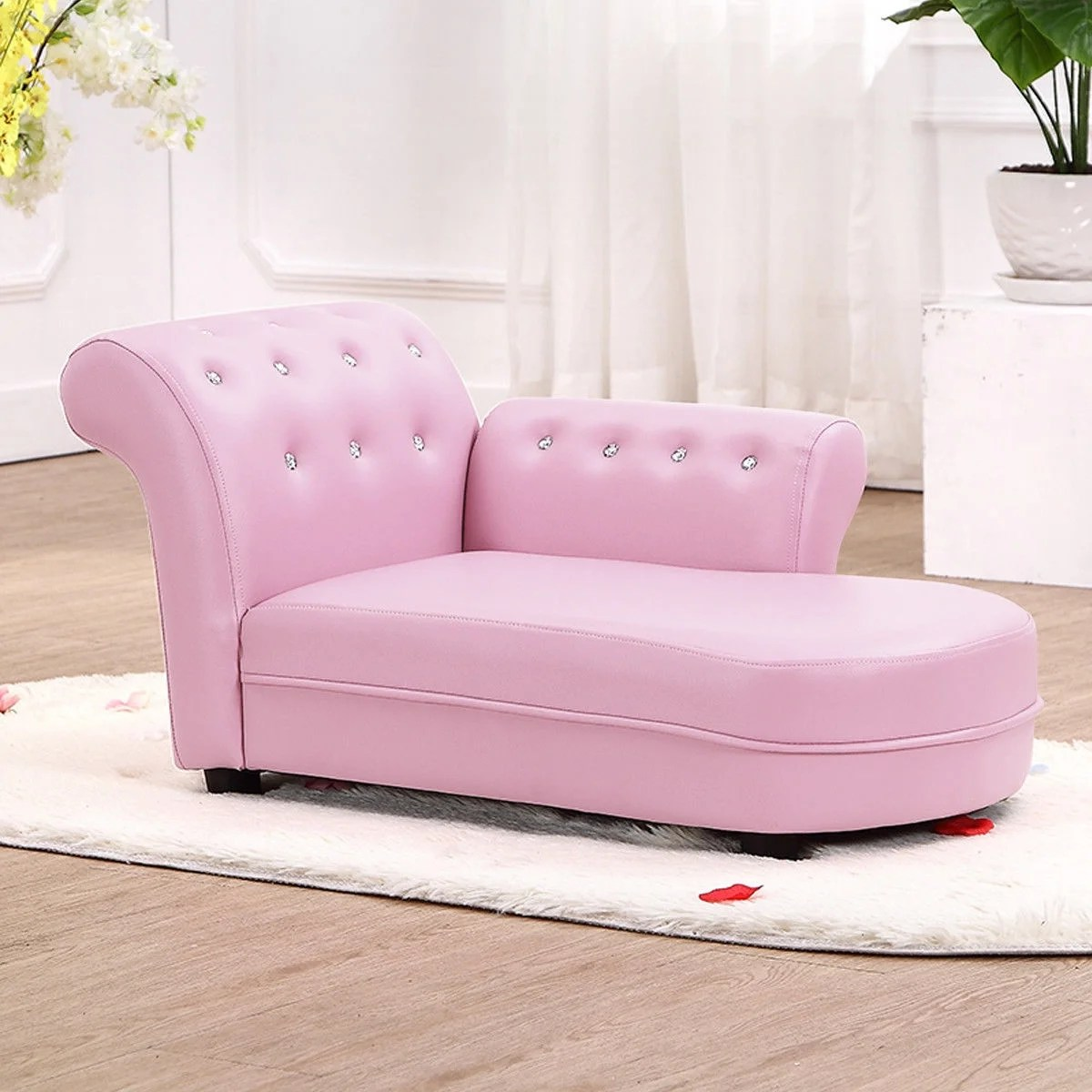 Gymax Kids Sofa Relax Couch Chaise Lounge Armrest Chair Bedroom Living Room Pink