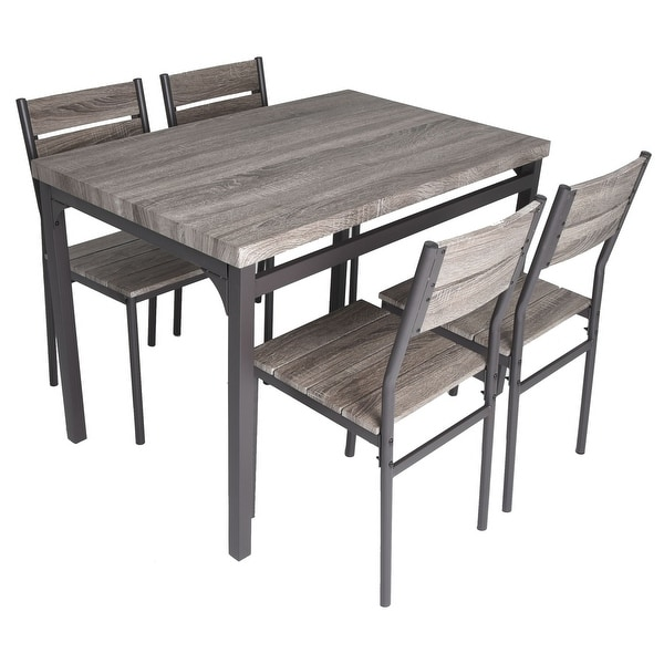 grey kitchen table and chairs ergonomic chair silicon valley shop zenvida 5 piece dining set rustic wooden 4