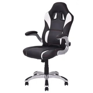 office chair armrest nylon glides shop costway high back executive racing style gaming adjustable black free shipping today overstock com 20590688