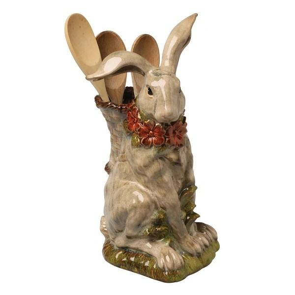 kitchen crock bimby robot shop porcelain sculpted rabbit utensil holder flower vase 14 in