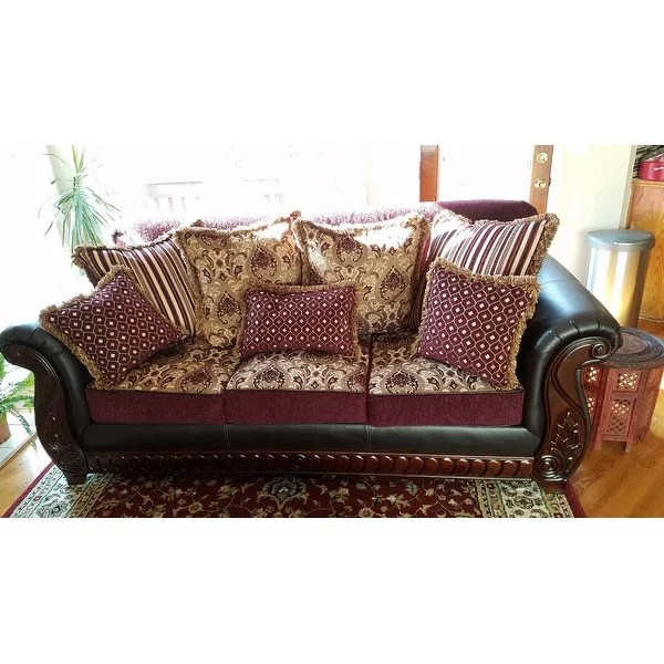 material and leather sofa red bonded set shop furniture of america franchesca traditional style chenille fabric on sale free shipping today overstock com 9426246