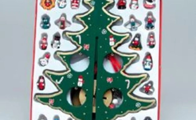 Shop 12 25 Wooden Christmas Tree With Miniature Ornaments