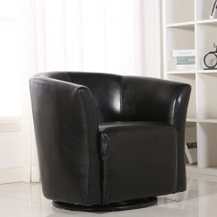 Barrel Swivel Chairs Upholstered Satin Chair Covers Shop Belleze Contemporary Base Glider Armrest Pub Bar Round Black