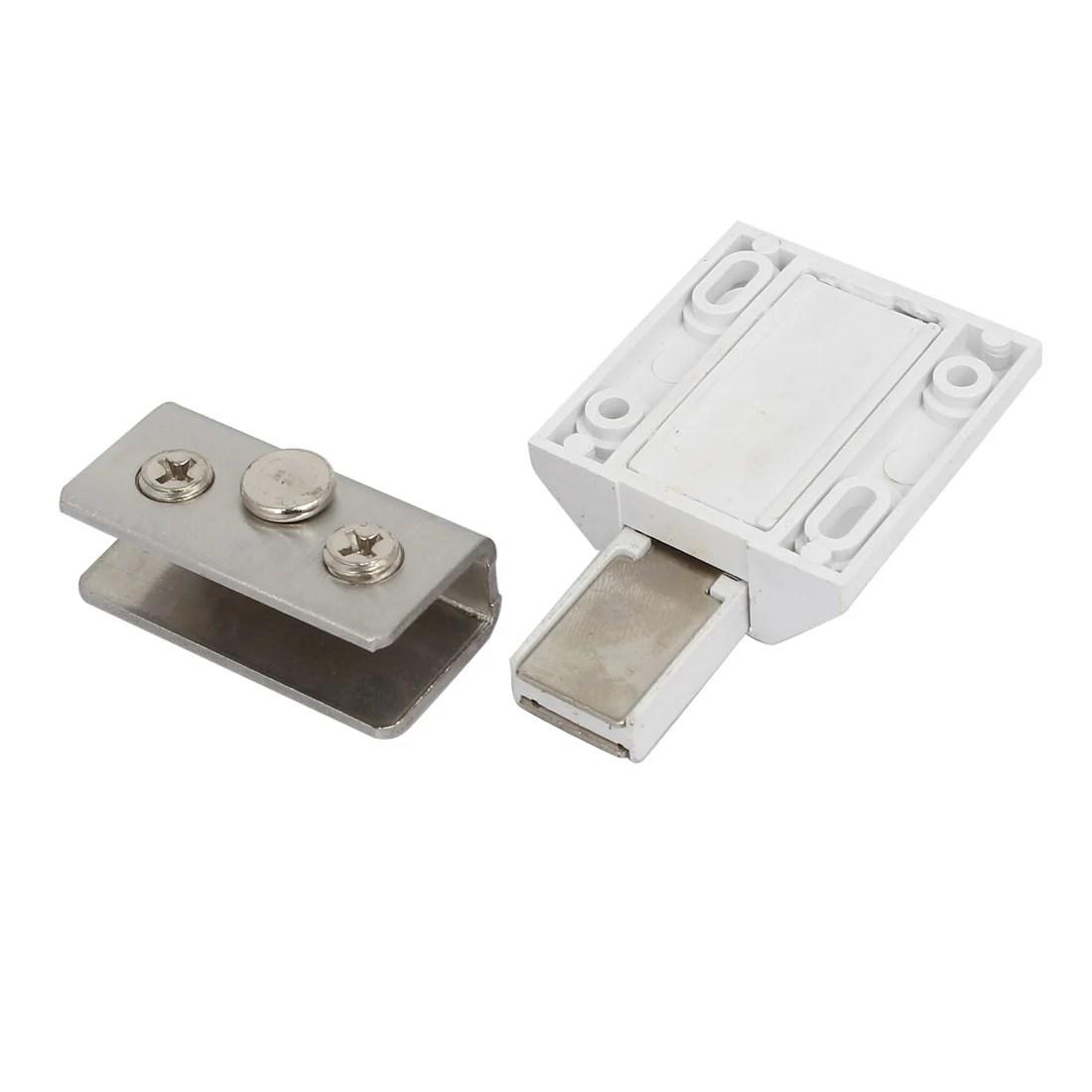 Cabinet Shower Door Pivot Hinge Magnetic Catch Latch Glass Clamps Set