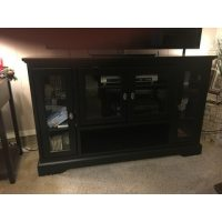 Black 52-inch Highboy Style Wood TV Stand - Free Shipping ...