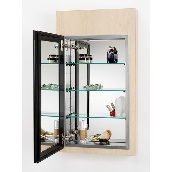 shop alno mc4550 reflections 15 x 25 single door recessed medicine cabinet with stainless steel interior interior framed mirror free shipping today