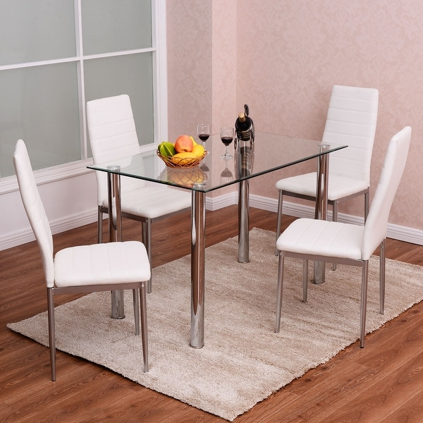 3979ab1864d Costway 5 Piece Kitchen Dining Set Glass Metal Table And 4 ...