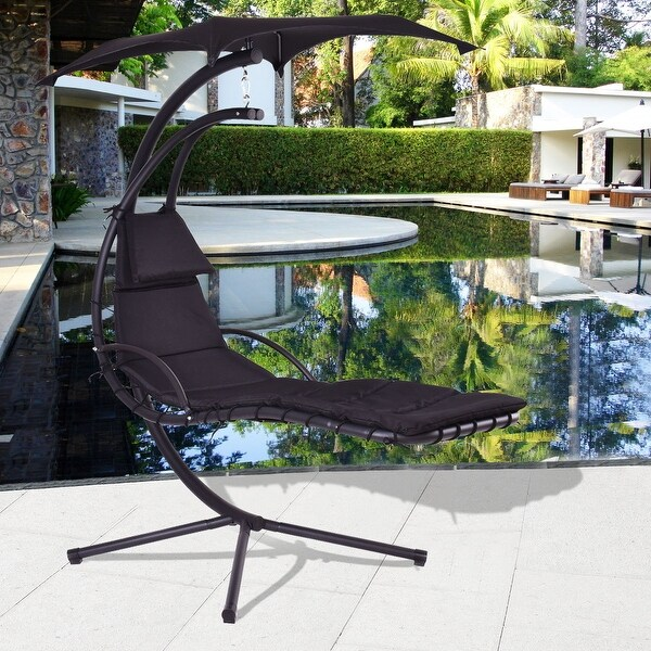 hammock chair with canopy adirondack patterns curved back shop costway black hanging chaise lounge arc stand air porch swing