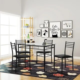 glass table sets for living room interiors pictures india buy kitchen dining online at overstock com our vecelo tempered with 4 chairs
