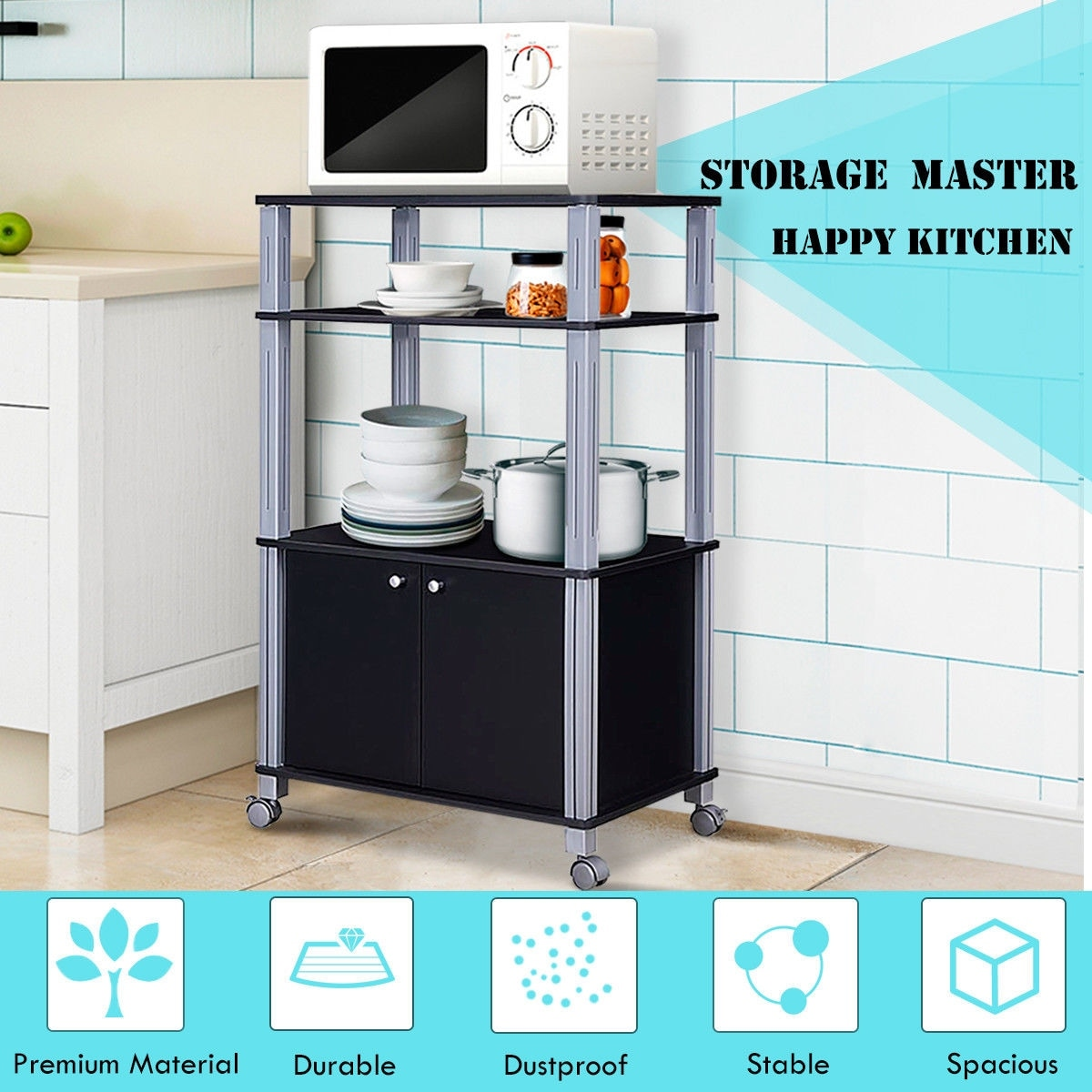 gymax bakers rack microwave stand rolling storage cart