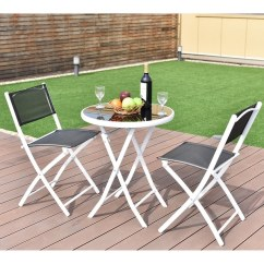 Patio Bistro Table And Chairs Behind The Chair One Shot Shop Costway 3 Pcs Folding Set Garden Backyard Furniture Black