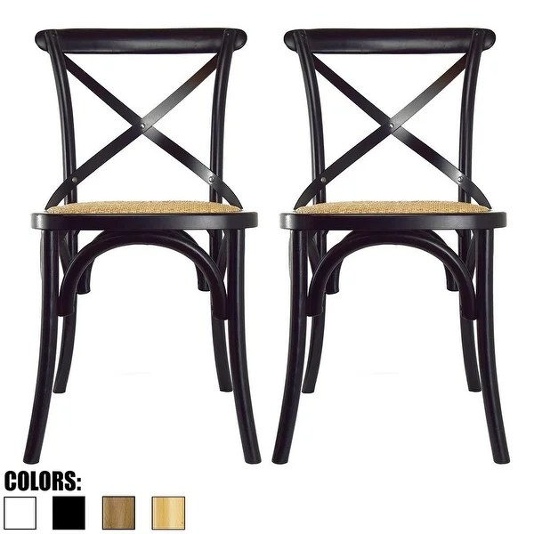 2xhome Set Of Two 2 Antique Style Cross Back Wooden Frame Dining Chairs Free Shipping