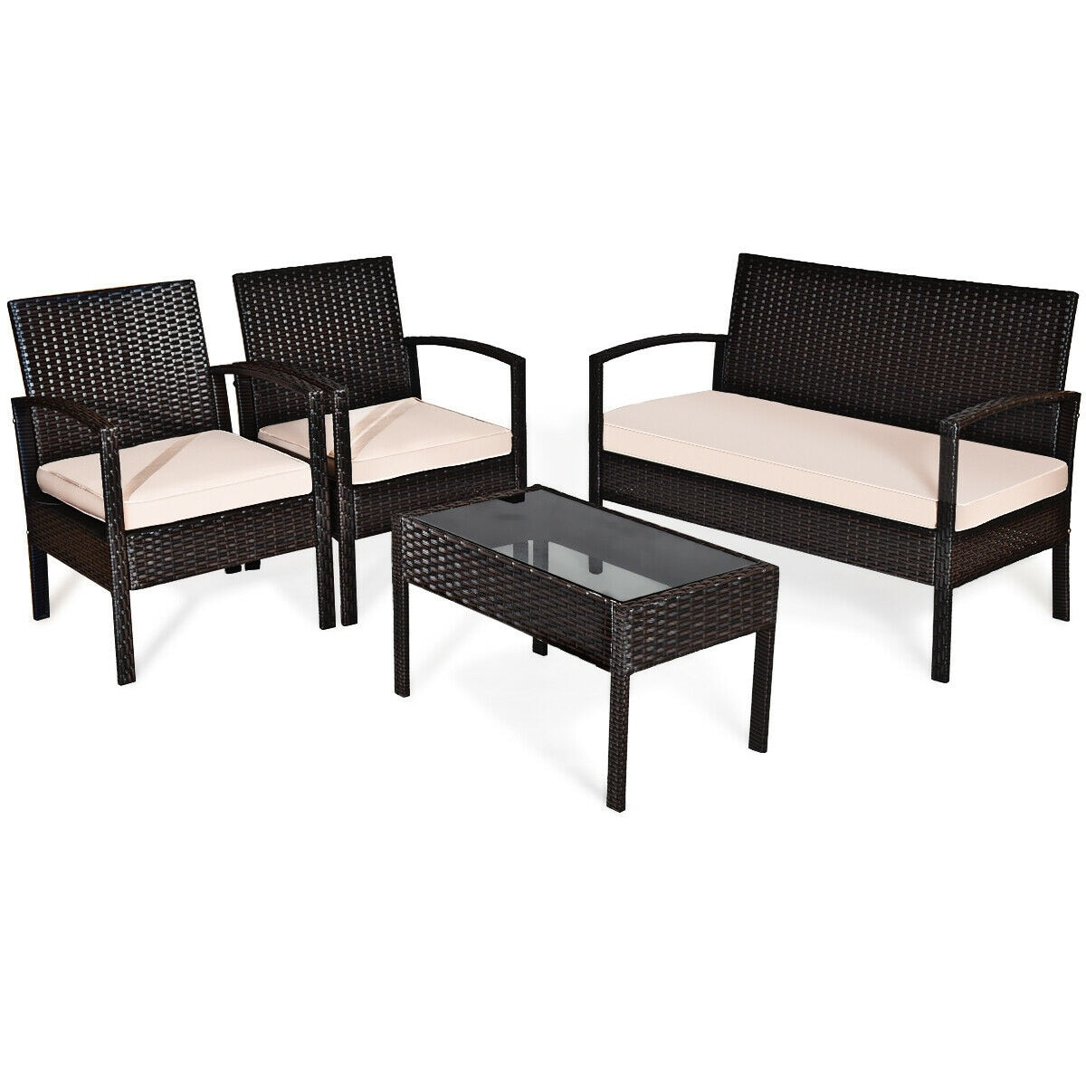 4 pcs patio furniture sets rattan chair wicker set outdoor bistro brown