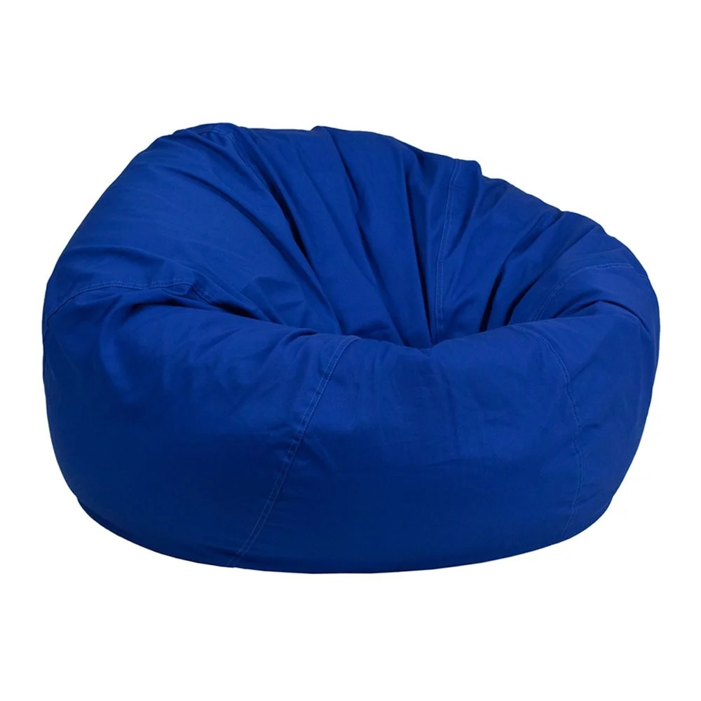 Shop Offex Oversized Portable Cotton Upholstered Kids Bean Bag Chair Royal Blue On Sale Overstock 27413899