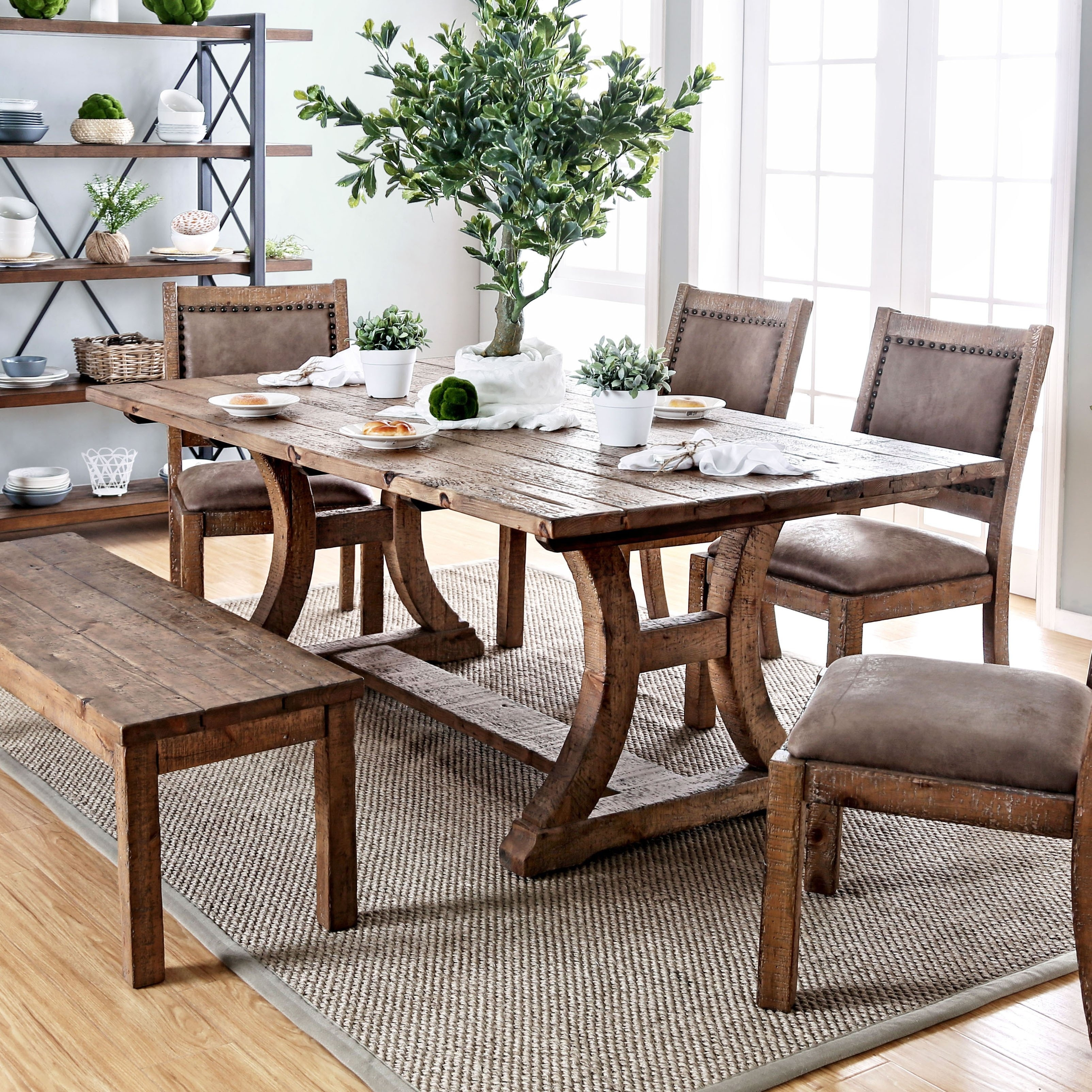 Shop Furniture Of America Sail Rustic Pine Solid Wood Dining Table On Sale Overstock 11149919