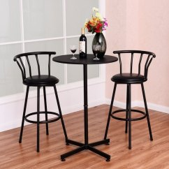 Pub Table And Chairs 3 Piece Set 2 Knoll Regeneration Chair Shop Costway Bar With Stools Bistro Kitchen Dining Furniture Black