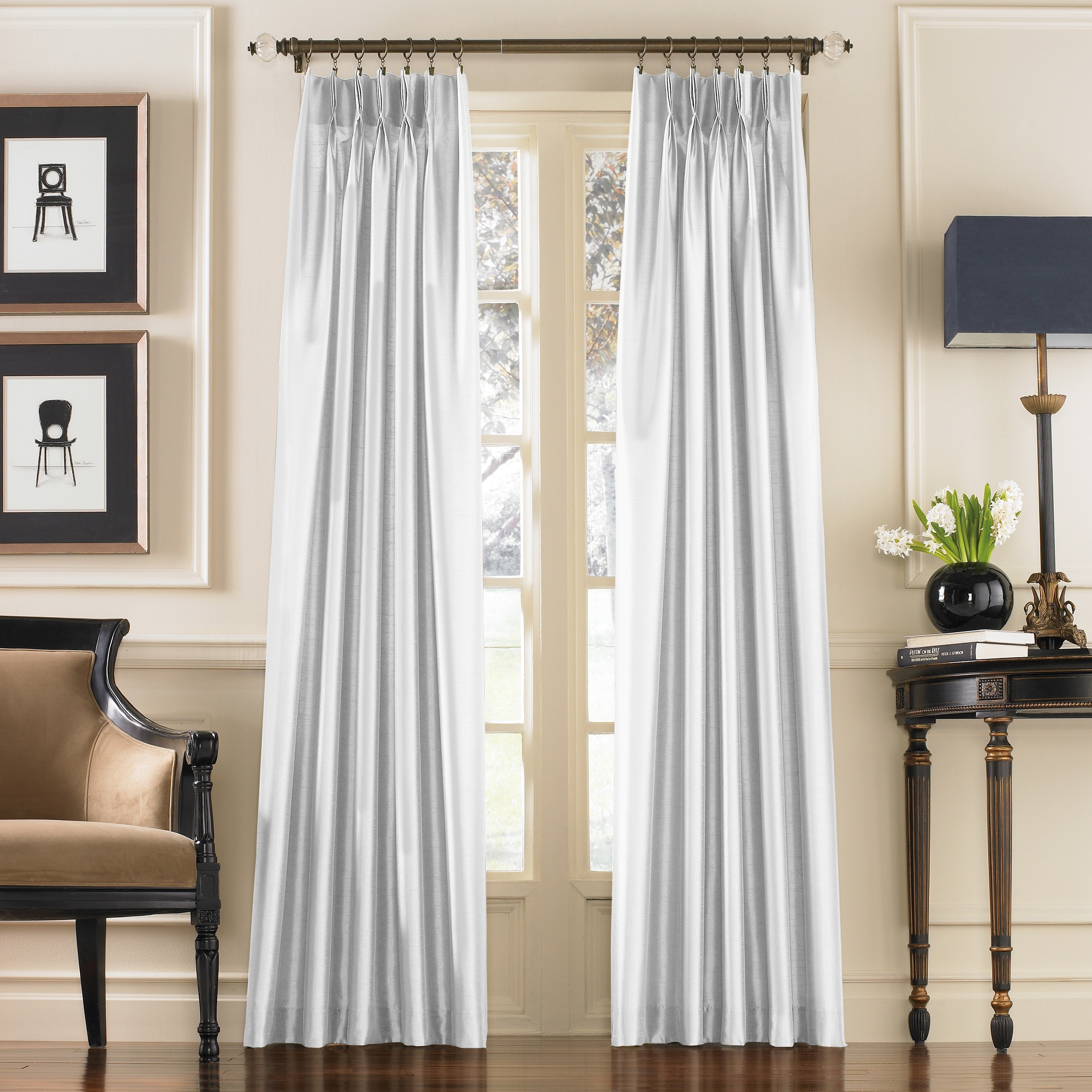 marquee faux silk pinch pleat solid color single curtain panel