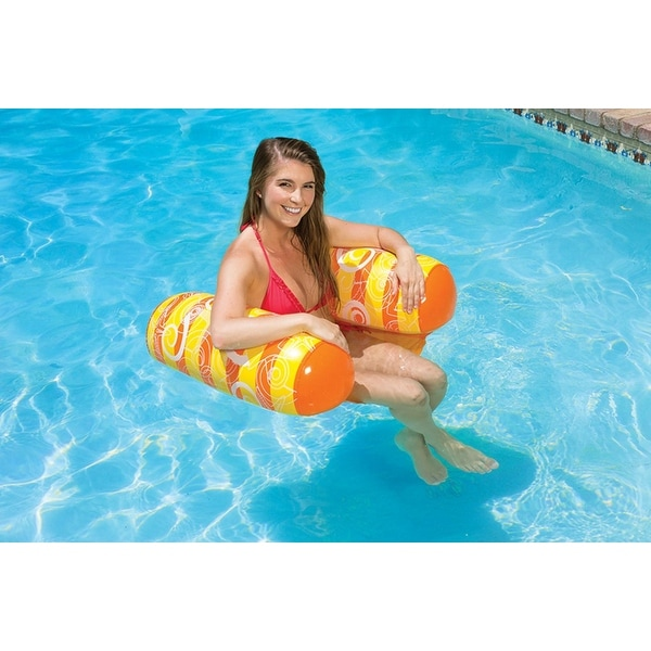 inflatable water chairs for adults plastic covers dining room chair seats shop 51 orange yellow and white vinyl swimming pool float free shipping on orders over 45 overstock com 16545063