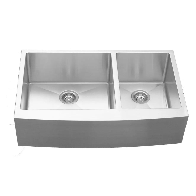 karran stainless steel 36 in farmhouse apron double bowl 60 40 sink