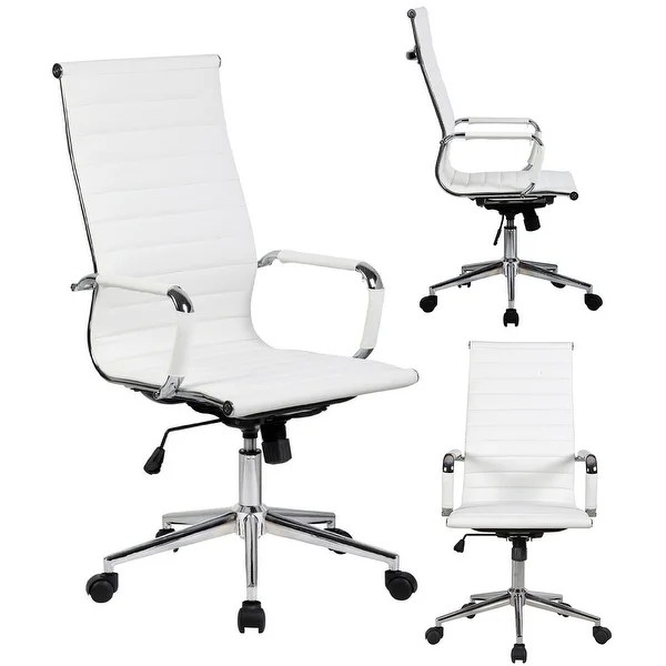 modern white desk chair herman miller stacking chairs shop 2xhome executive ergonomic high back office ribbed pu leather swivel for manager conference