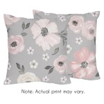 Grey Watercolor Floral 18in Decorative Accent Throw Pillows Set Of 2 Blush Pink Gray Shabby Chic Rose Flower Farmhouse Overstock 31453351