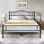 Vecelo Black Metal Twin Full Queen Metal Bed Platform Bed Curved Headboard Fixed Bed Frame Twin Full Queen Size 3 Opotion On Sale Overstock 29059468